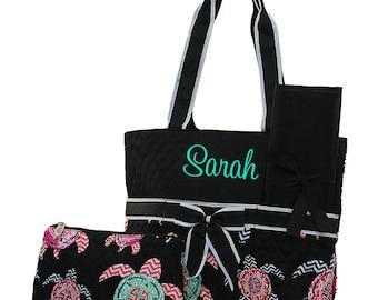 Personalized Diaper Bag | Boys Diaper Bag | Girls Diaper Bag | Monogram Diaper Bag | Baby Bag | Nappy Bag | Changing Bag | Turtle Black Trim