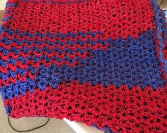 Baby afghan red and blue