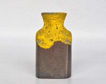 Vintage Ceramic Fat Lava Vase / Mid Century Germany / Uberlacker 1436/14 / German Pottery / Yellow