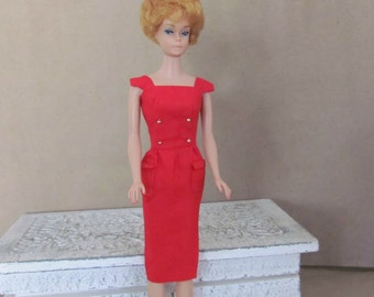 Vintage Barbie Clothes, 1960's Barbie Dress, Red Barbie Dress #986 Sheath Sensation, Vintage Barbie Dress, Sheath