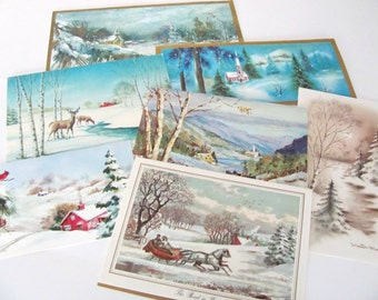 Vintage Christmas Card Lot, 1960's Winter Scene, Snow Scene Christmas Cards, Used Christmas Cards, Greeting Cards, 1960s Christmas, Crafting
