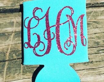 Can Hugger or coolie custom monogram glitter