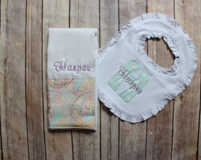 Baby Girl Burp Cloth Set - Monogrammed Burp Cloth and Ruffle Bib - Monogrammed Baby Gift, Personalized Baby Girl Gift, New Baby Gift, Girl