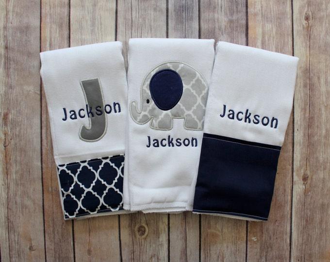 Monogrammed Elephant Burp Cloth Set, Applique Elephant Burp Cloth Gift Set, Initial Burp Cloth, Navy Grey Elephant Burp, Baby Gift, Monogram