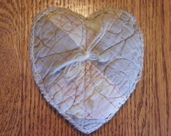 Handmade Heart Sewn from Antique Quilt Pin Cushion Small Decorative Pillow