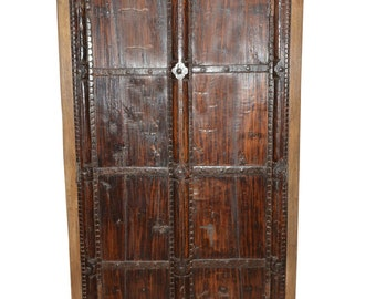 huge antique vintage armoire warbdrobe indian teak furniture spanish moroccan mediterranean boho shabby chic interiors chic teak furniture