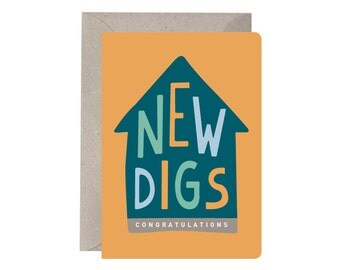 New Home Card – New Digs. Congratulations. Housewarming Card. New Home Card. First House. Quirky Housewarming Card. Hand Drawn Lettering.