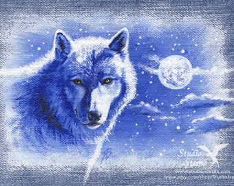 Original acrylic painting Denim Wolf Moon 15 x 20 cm wild animal realistic nature blue white black cloud night stars myth picture