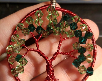 Red with shades of greens swarvoski tree of life