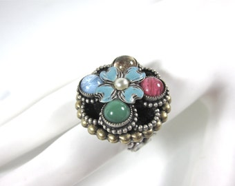 Vintage Sweet Romance Large Adjustible Green, Blue, Rose And Gold Glass And Blue And Black Enamel Designer Ring