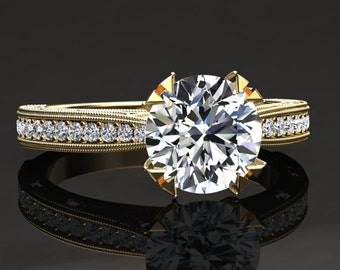 Moissanite Engagement Ring Moissanite Ring 14k or 18k Yellow Gold Matching Wedding Band Available W21MOISY