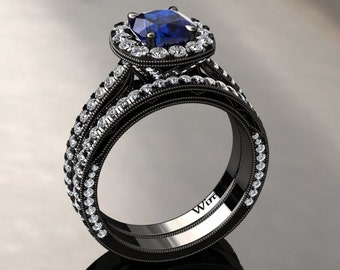 Matching Wedding Band For Blue Sapphire Halo Engagement Ring Cushion Cut Blue Sapphire Ring 14k or 18k Black Gold SW6BUBK