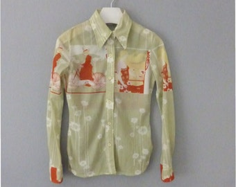 70s womens shirt. S size. Nylon lime green top with retro scenes in orange, white & yellow colors. In a very good vintage condition.