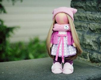 Handmade fabric doll, custom made decorative doll, rag doll, custom made doll.