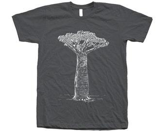 Baobab Tree Screen Print on American Apparel Round Neck Tshirt Available: S , M , L , XL, 2XL