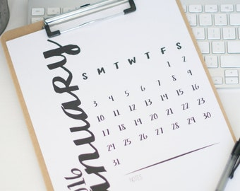 2016 Monthly Calendar - Printable - Desk - 8.5x11 - Watercolor
