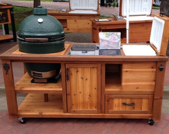 Custom grill tables kamado joe big green egg by rusticwoodworx for Outdoor grill cabinet plans