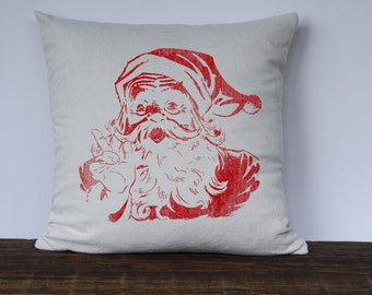 Farmhouse Christmas Pillow CoverSanta Christmas Pillow, Decorative Pillow, Custom Couch Pillow, Vintage Santa Graphic Surprise Santa RED