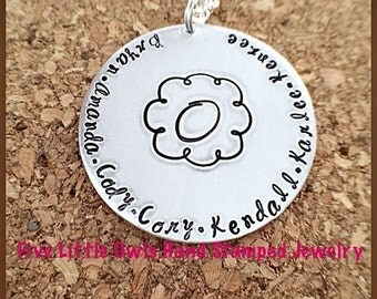 Hand stamped family crest mothers necklace