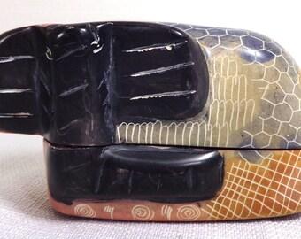 Vintage Soapstone Trinket Box   Hand Carved in Kenya