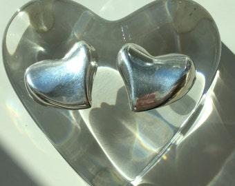 Sterling Silver Heart Clip On Earrings