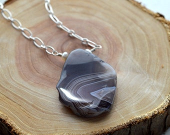 Polished Purple Agate Long Necklace- Long Agate Necklace- Purple Stone Necklace- Agate Necklace
