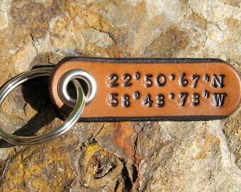 Custom Coordinates Longitude Latitude Keychain leather tag key fob - Secret Favorite Location - 3rd Anniversary Wedding Gift - GPS Men Women