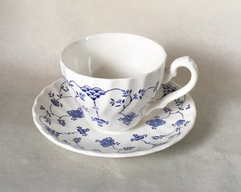 Myott Finlandia Tea Cup and Saucer, Blue and White 1982