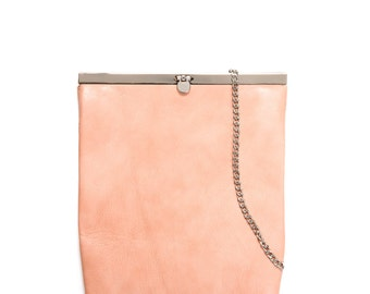 Pink Small Leather Bag, Chain Bag, Evening Purse