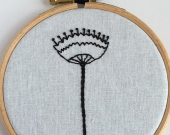 Black Modern Flower Embroidered Hoop Art - style 1