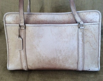 SUMMER SALE Large vintage COACH beige leather shopping tote bag business bag