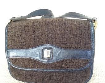SPRING SALE Genuine vintage LANVIN suede and leather navy accordion shoulder bag purse