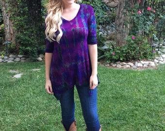 Tunics, Tie Dye, Woman Tunic, Women Tunic, Ladies Top, Boho Tunic, Purple Top with Black, Pure Intent, XS S M, V Neck Tunic