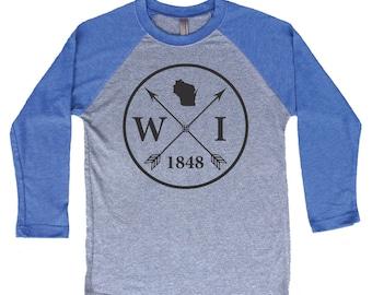 Homeland Tees Wisconsin Arrow Tri-Blend Raglan Baseball Shirt