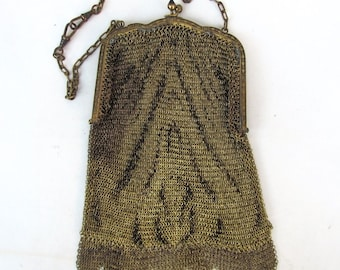 SALE! antique purse. Tiger print metal Mesh flapper purse Early 1920s boardwalk era evening purse chainmail E30