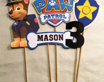 Paw Patrol Chase 5 pc centerpiece, paw patrol party, Paw Patrol birthday, Chase