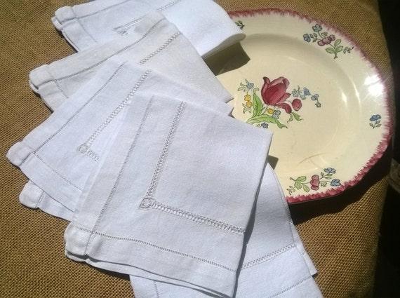 5 Antique White Linen Crepe Napkins Ladder Cut Worked French Handmade Napkins #sophieladydeparis