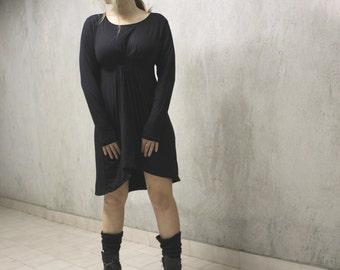 Black  Loose Asymmetric  Dress / Black Midi Dress / Women Clothing / Everyday Dress / Casual Black Dress / Sportwear Dress /