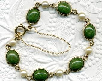 """Bracelet Jade 12K Gold Filled 7 1/2"""" / Sale was 25.60"""