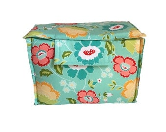 ON SALE Removable small camera insert with TOP, teal floral padded