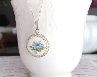 """Long Necklace, Sterling Silver, Blue Rose Cameo Necklace, Floral Limoge Cameo Set in Crown Bezel, on Long 34"""" Beaded Chain"""