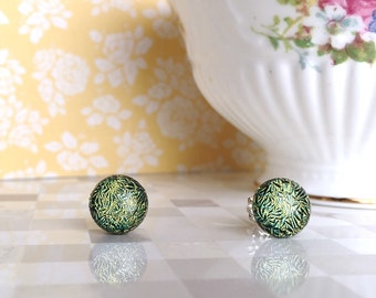 Fused Glass Stud Earrings, Greenish Yellow Dichroic Glass Stud Earrings, Sterling Silver Posts