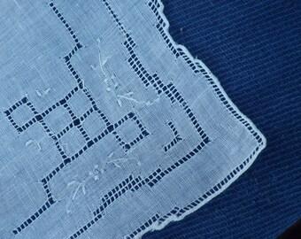 Vintage drawn thread work handkerchief (#11)