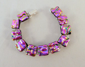 7 Inch Pink Dichroic Fused Glass Bracelet, Pink, Fused Glass Jewelry, Dichroic Bracelet, Dichroic, Link Bracelet, Pink Bracelet