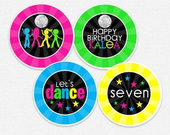 Disco Party Cupcake Toppers, Disco Party, Disco Party Decorations,  DIY Cupcake Toppers, Printable Cupcake Toppers, Party Circles :No.325