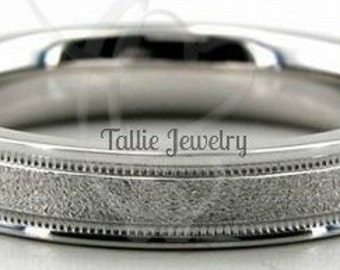 18K Mens and Womens White Gold Wedding Band Ring  4MM Wide  Sizes 4-12  Free Engraving  New
