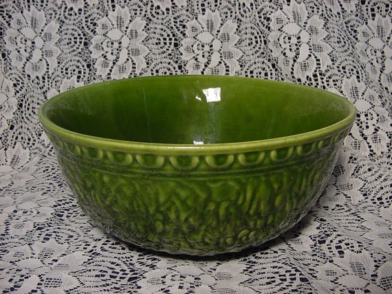 Stunning Haeger Emerald Green Mixing Bowl Vintage 1960 S