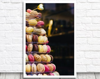 Macaron Tower, Food Print, Paris Print, Paris Photograph, Food Picture, French Decor, French Macaron Print, Kitchen Wall Art, Paris Picture