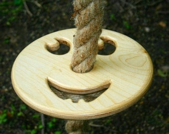 Tree swing, wood swing, playground, disc swing, classic disc, round, circle, baltic plywood, natural climbing rope swing