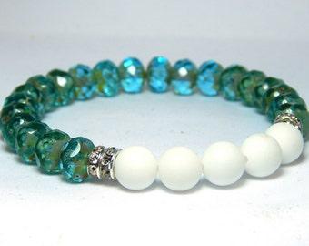 Aqua Blue Bracelet, Blue and White Bracelet, Crystal Bracelet, Beaded Bracelets, Beaded Bracelet, Nautical Bracelet, Energy Bracelet